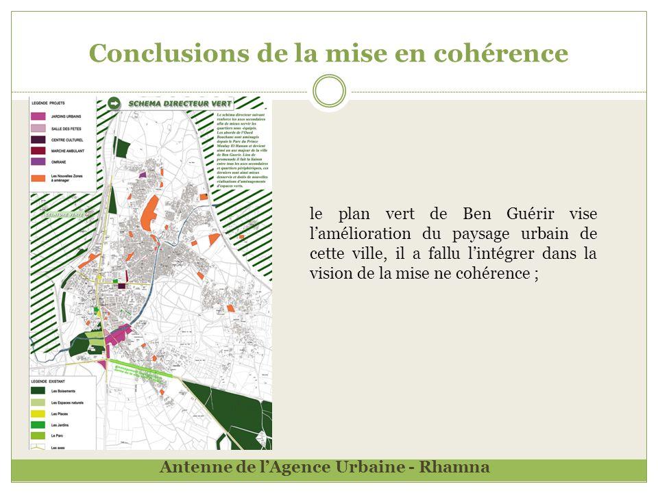 Conclusions de la mise en cohérence