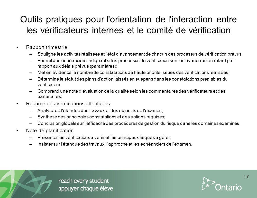 Outils pratiques pour l orientation de l interaction entre les vérificateurs internes et le comité de vérification