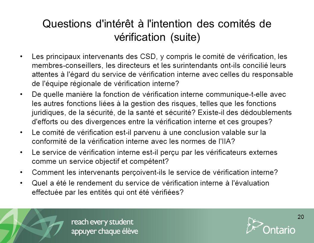 Questions d intérêt à l intention des comités de vérification (suite)