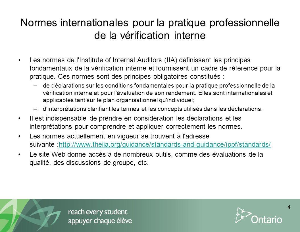 Normes internationales pour la pratique professionnelle de la vérification interne