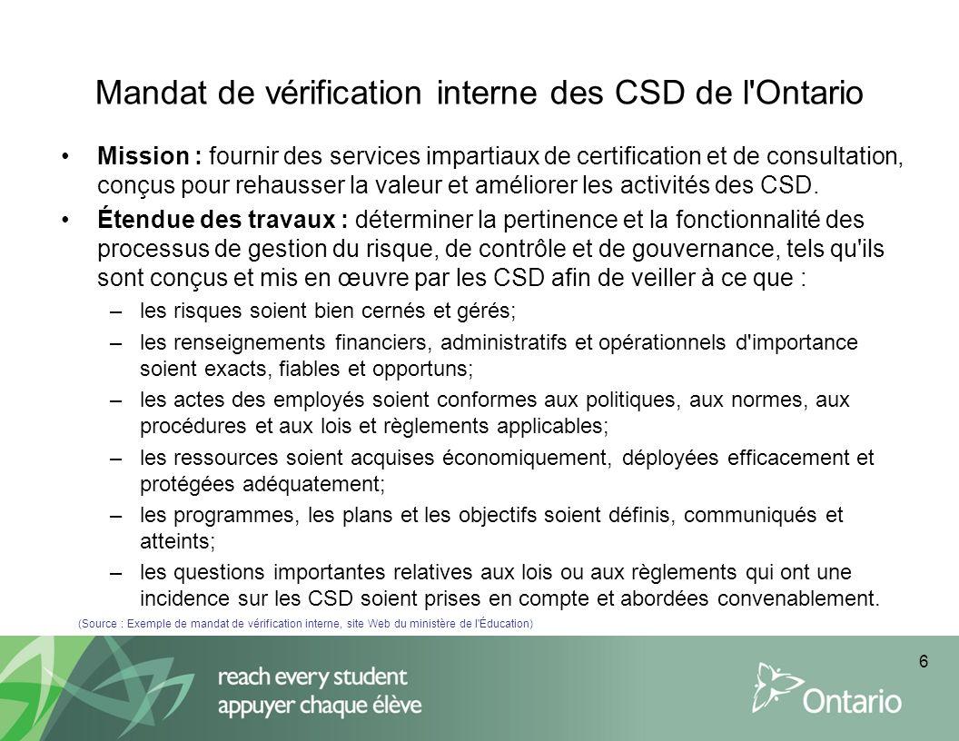Mandat de vérification interne des CSD de l Ontario