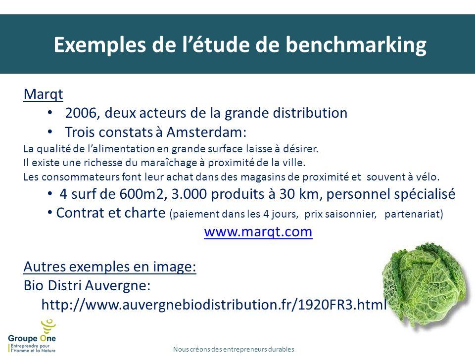 Exemples de l'étude de benchmarking