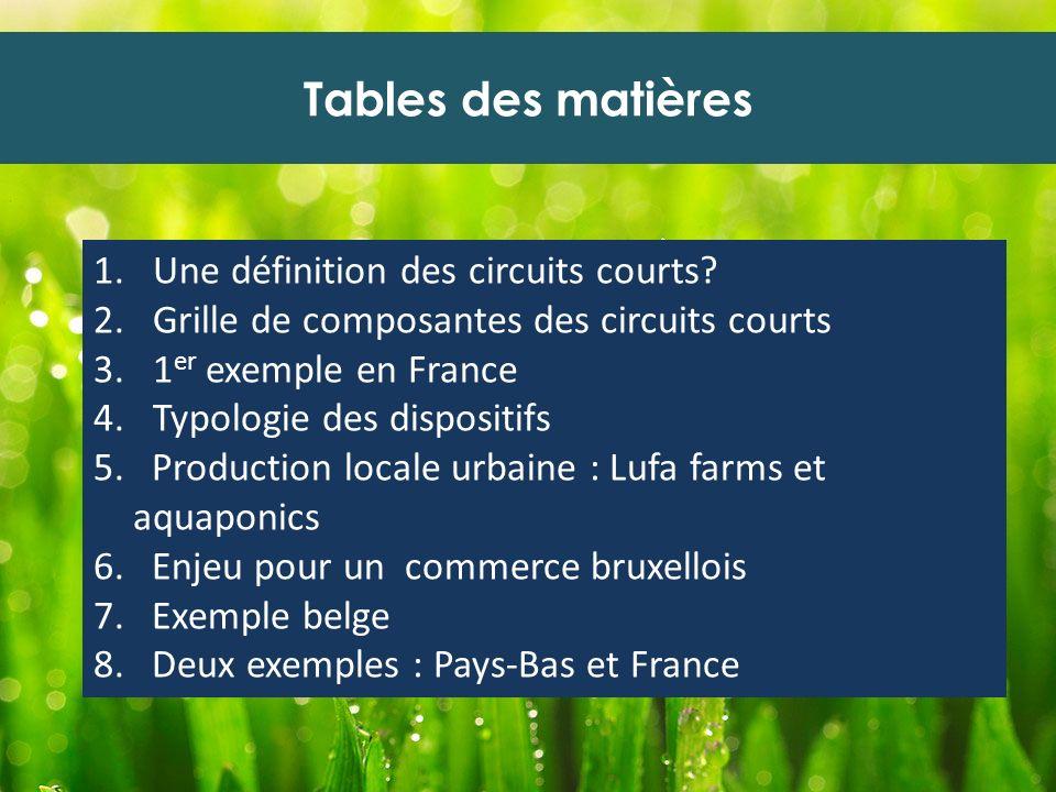 Tables des matières Une définition des circuits courts