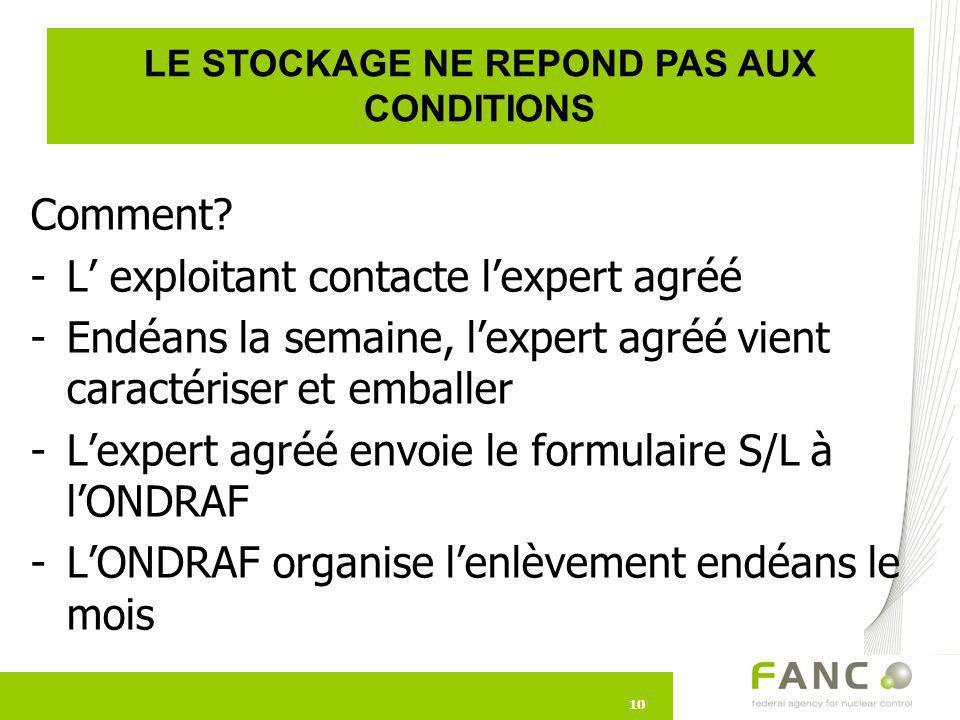 LE STOCKAGE NE REPOND PAS AUX CONDITIONS