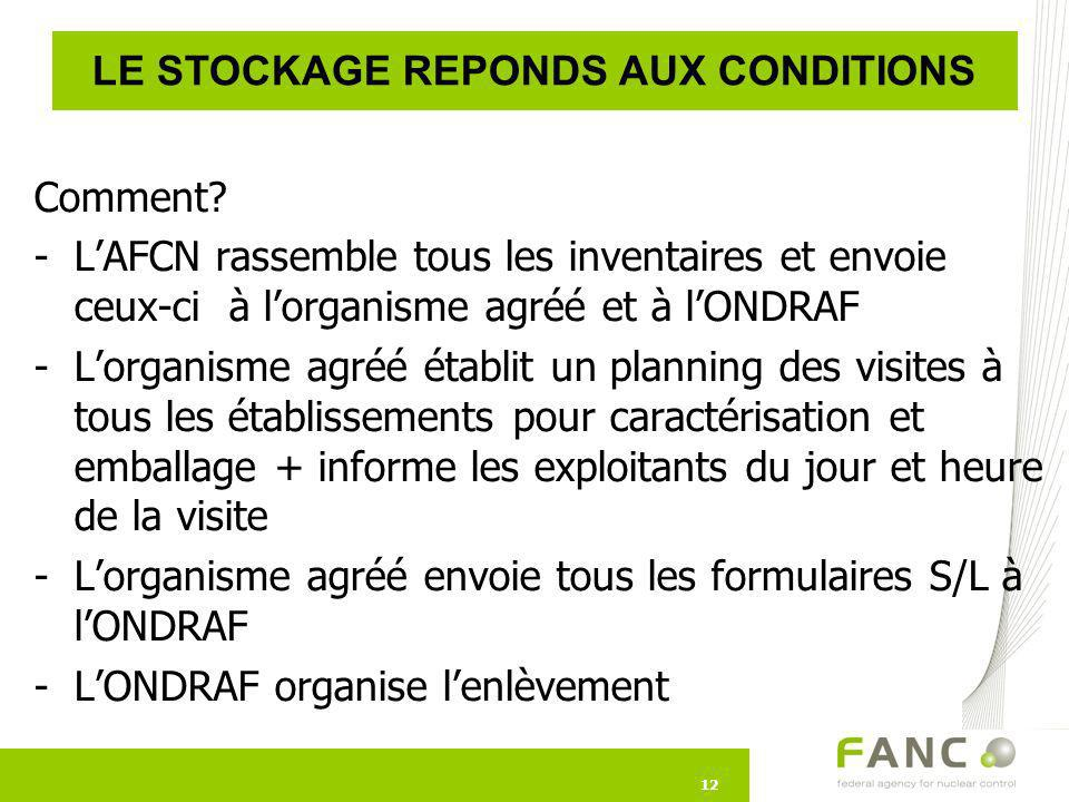 LE STOCKAGE REPONDS AUX CONDITIONS