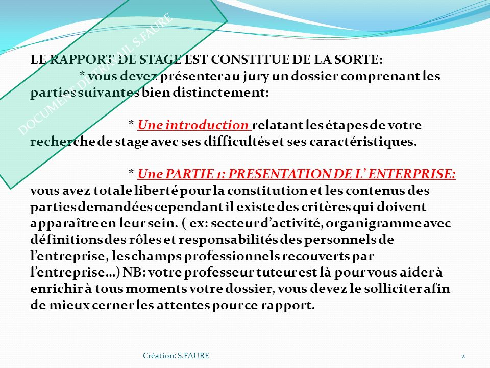 DOCUMENT DE TRAVAIL S.FAURE