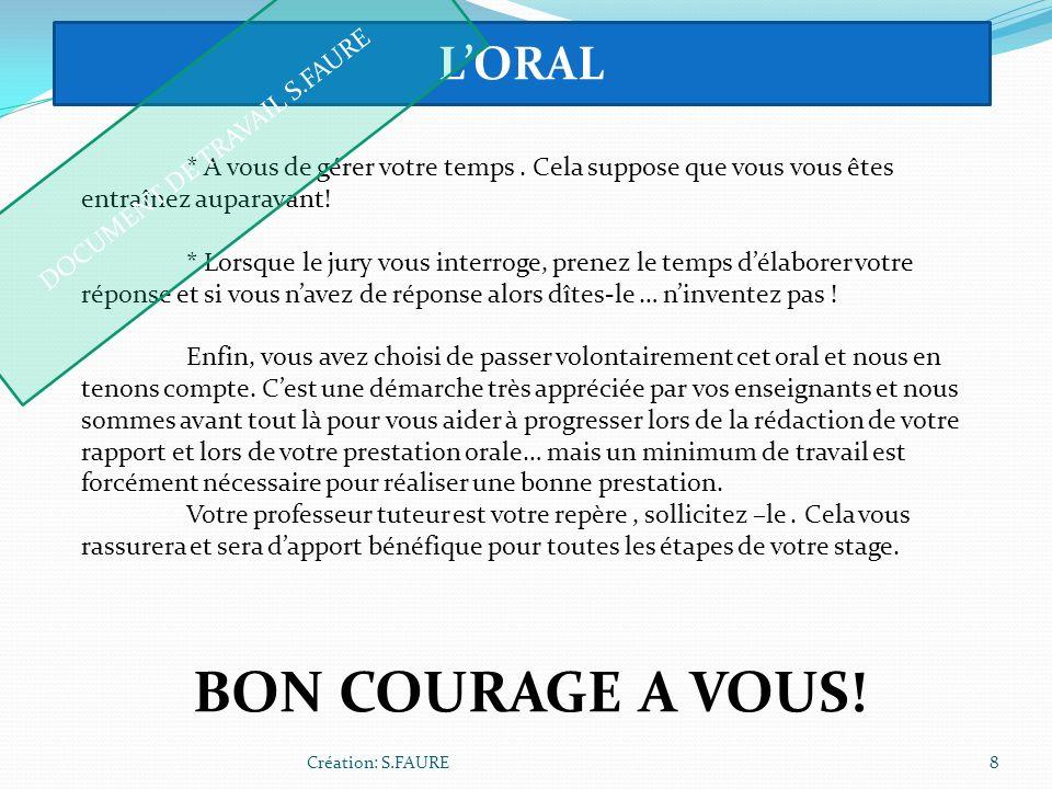 DOCUMENT DE TRAVAIL S.FAURE