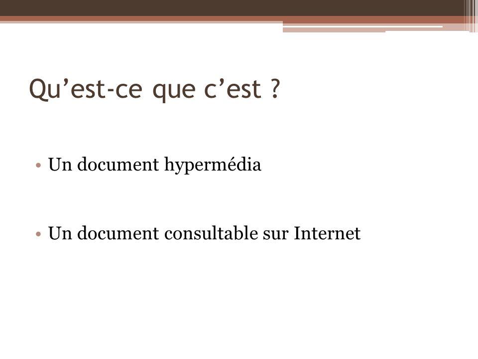 Qu'est-ce que c'est Un document hypermédia