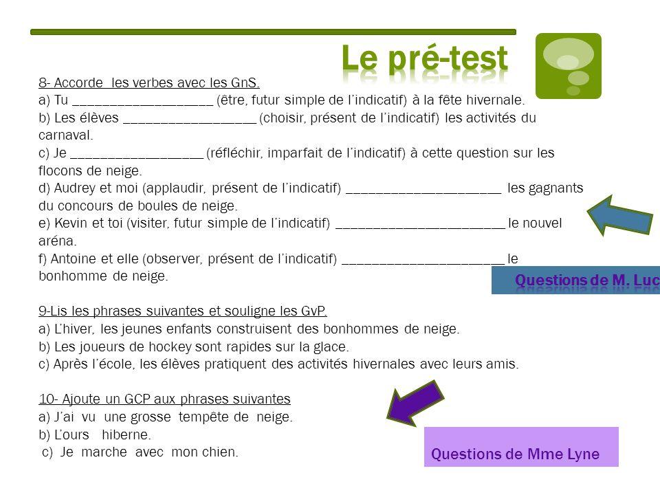 Le pré-test Questions de M. Luc Questions de Mme Lyne