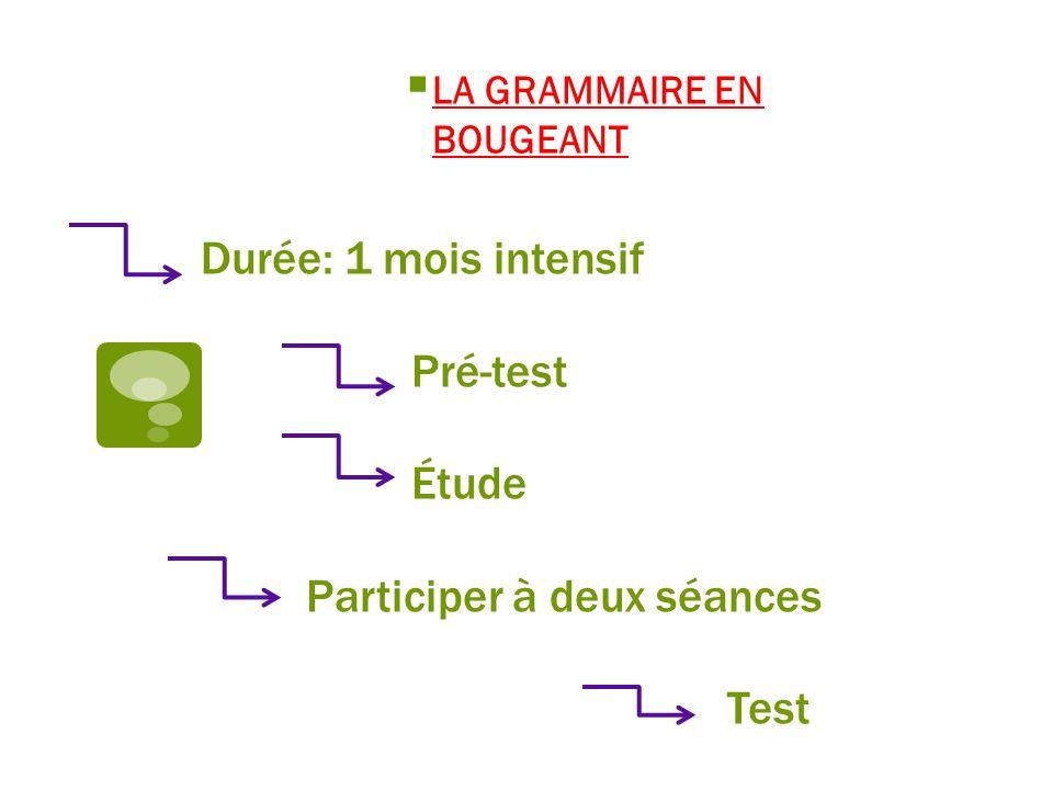 Durée: 1 mois intensif Pré-test Étude Participer à deux séances Test