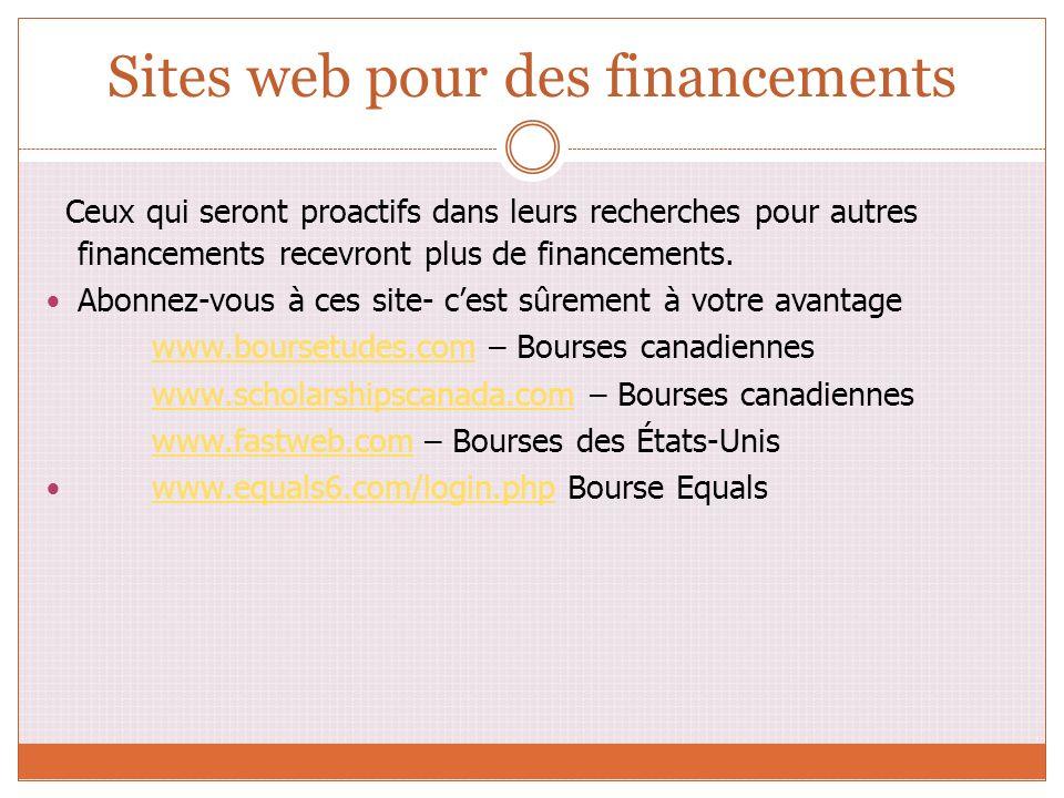 Sites web pour des financements