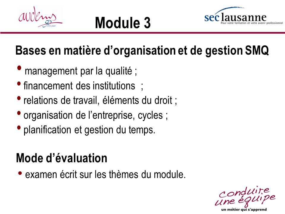 Module 3 Bases en matière d'organisation et de gestion SMQ