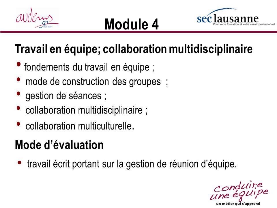 Module 4 Travail en équipe; collaboration multidisciplinaire