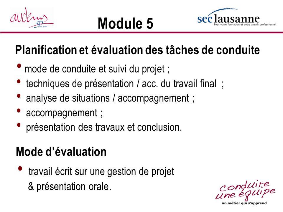 Module 5 Planification et évaluation des tâches de conduite