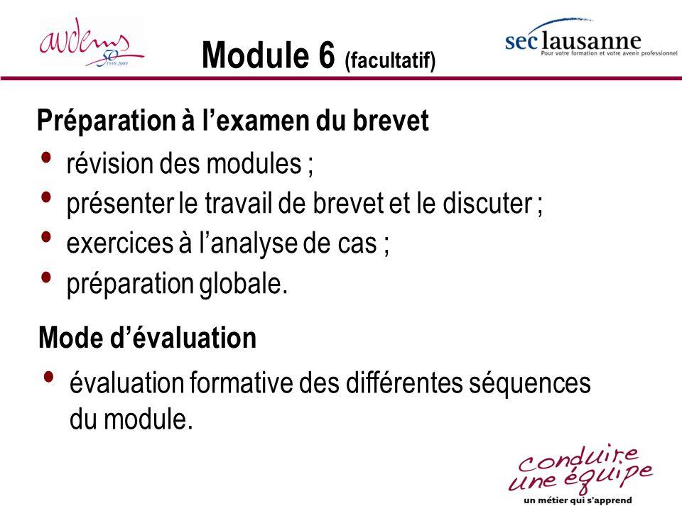 Module 6 (facultatif) Préparation à l'examen du brevet