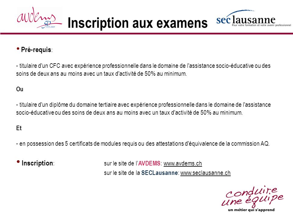 Inscription aux examens