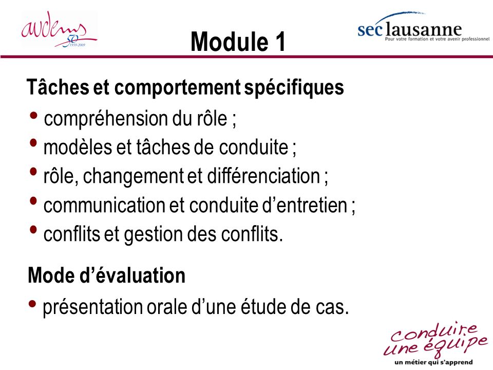 Module 1 Tâches et comportement spécifiques