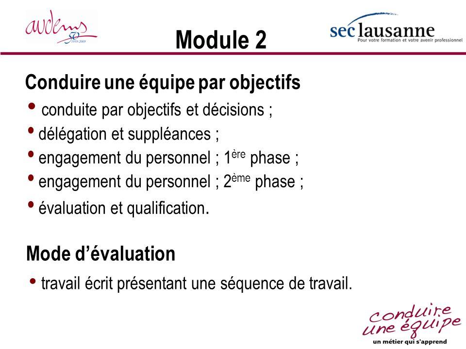 Module 2 Conduire une équipe par objectifs Mode d'évaluation