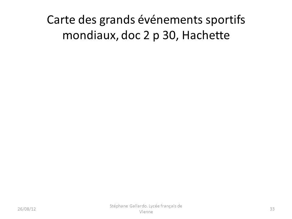 Carte des grands événements sportifs mondiaux, doc 2 p 30, Hachette
