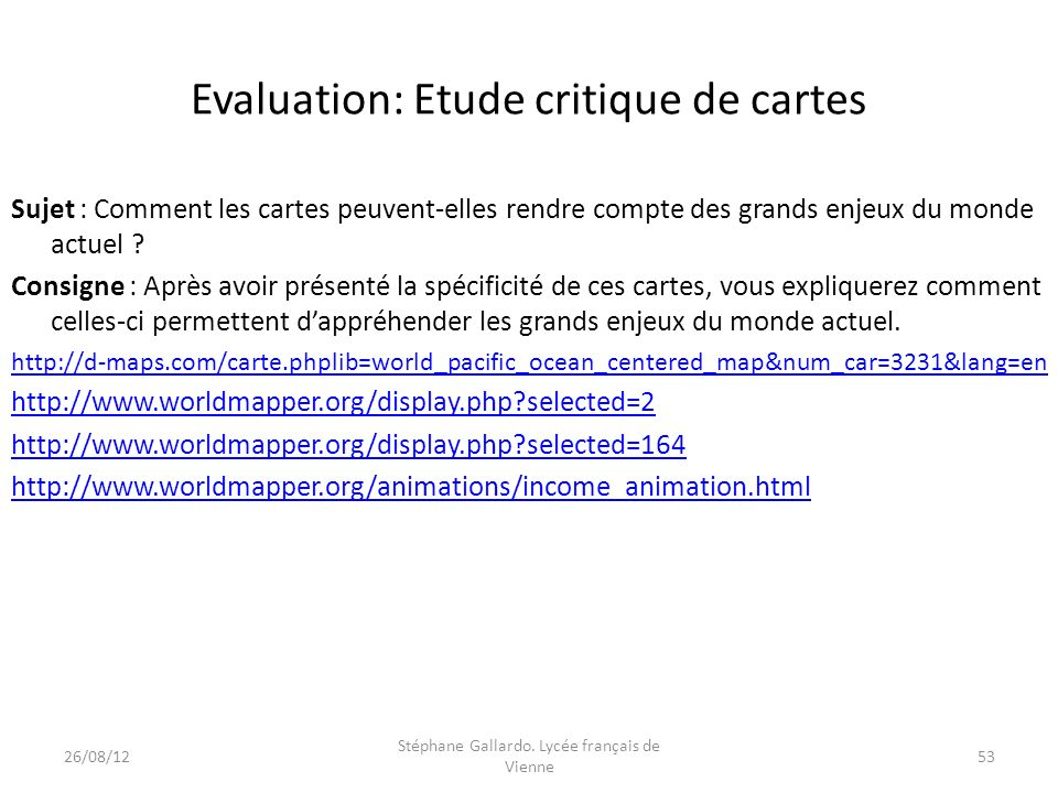 Evaluation: Etude critique de cartes