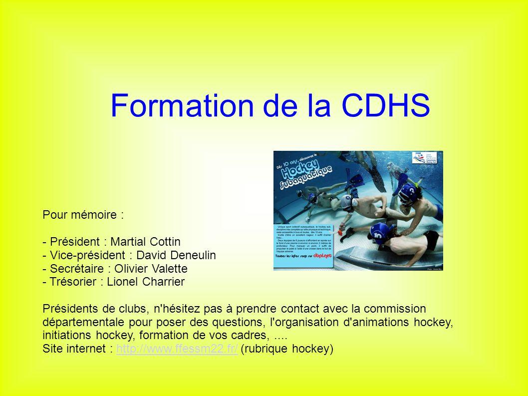 Formation de la CDHS Pour mémoire : - Président : Martial Cottin. - Vice-président : David Deneulin.