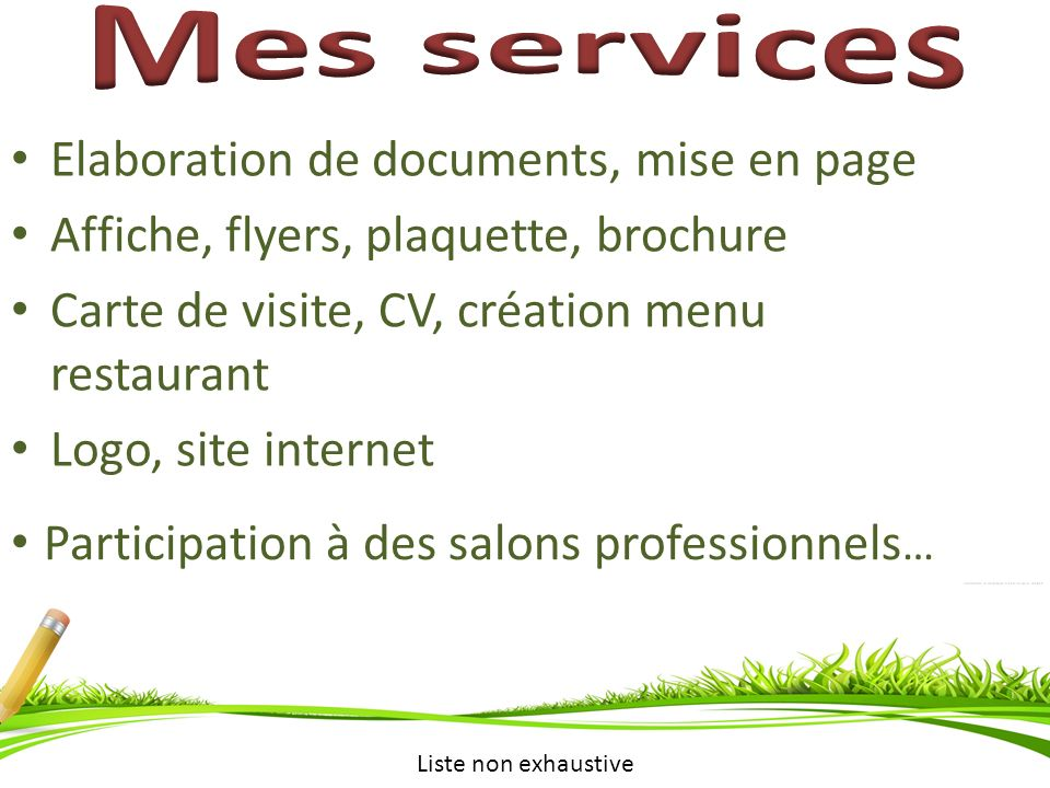 Mes services Elaboration de documents, mise en page