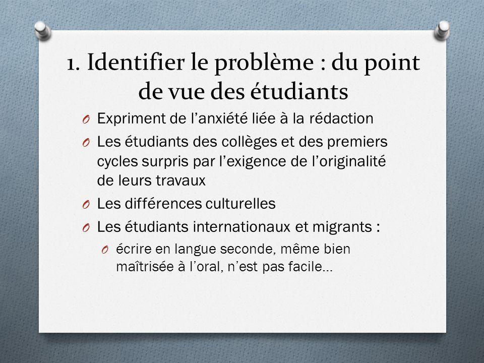1. Identifier le problème : du point de vue des étudiants