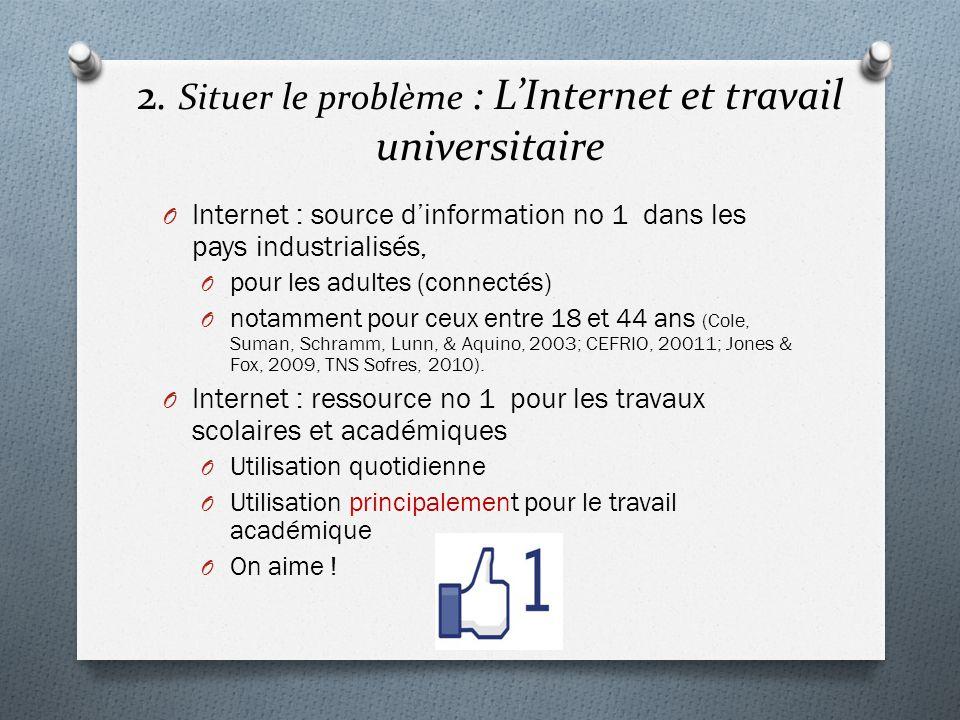 2. Situer le problème : L'Internet et travail universitaire