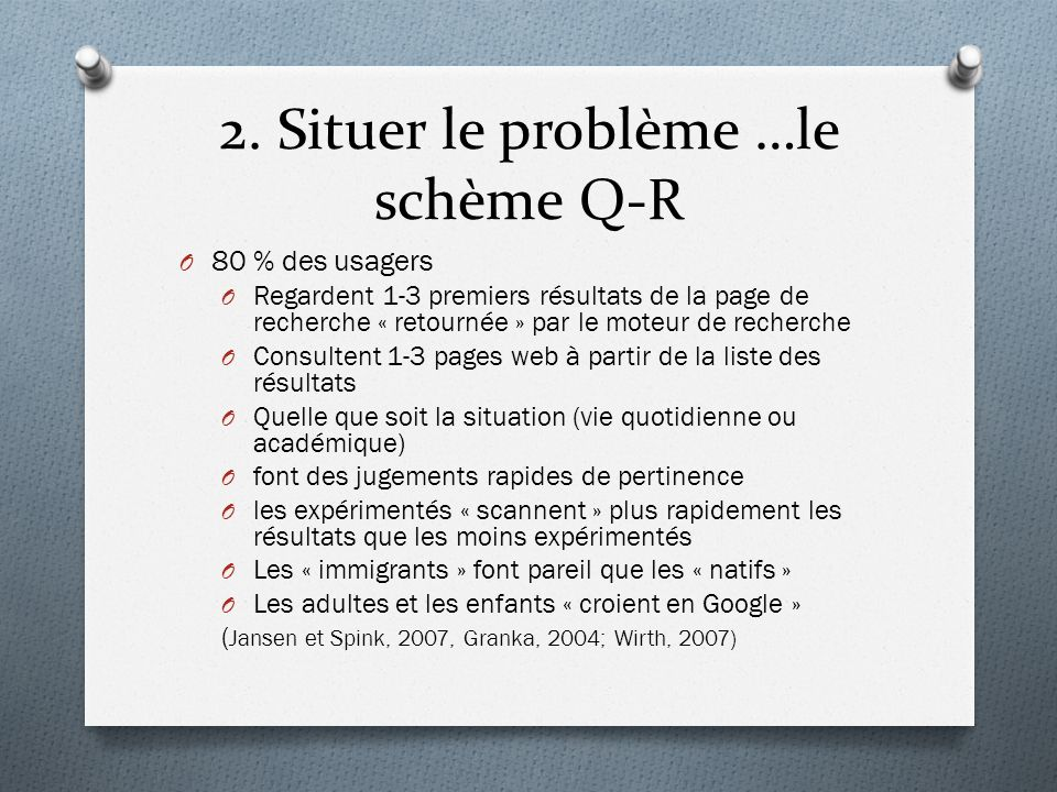 2. Situer le problème …le schème Q-R