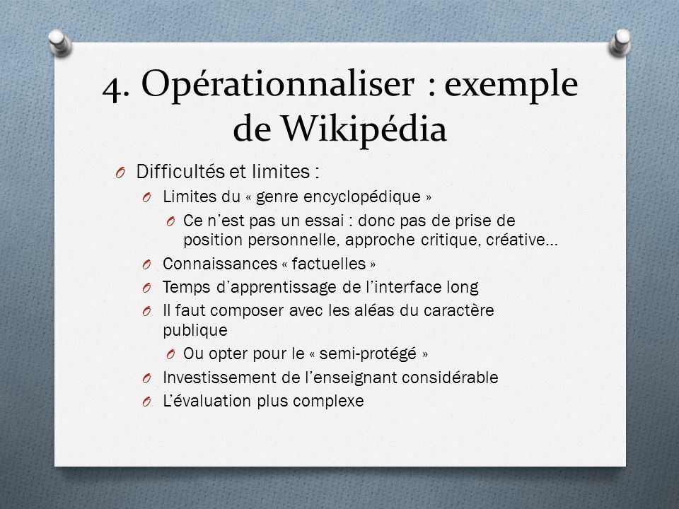 4. Opérationnaliser : exemple de Wikipédia