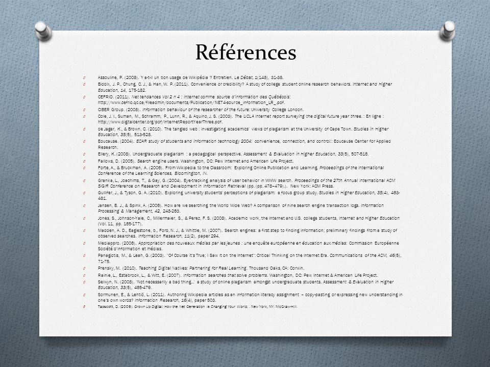 Références Assouline, P. (2008). Y a-t-il un bon usage de Wikipédia Entretien. Le Débat, 1(148), 31-38.