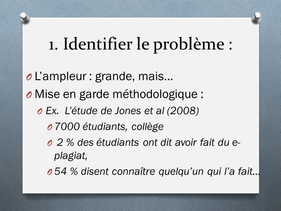 1. Identifier le problème :