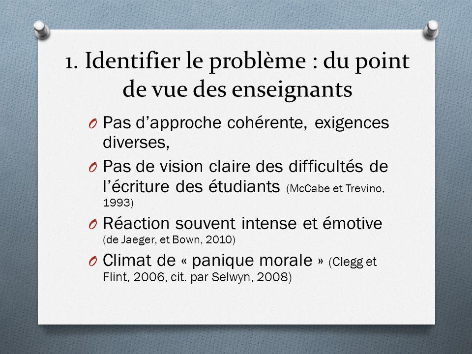 1. Identifier le problème : du point de vue des enseignants