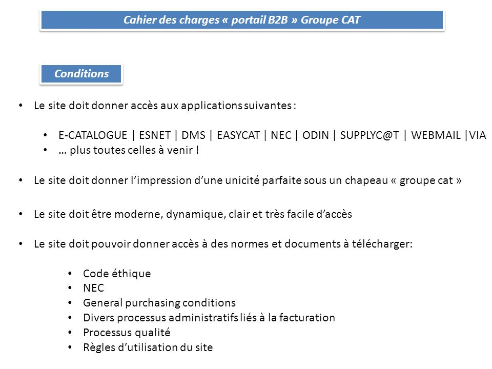 Cahier des charges « portail B2B » Groupe CAT