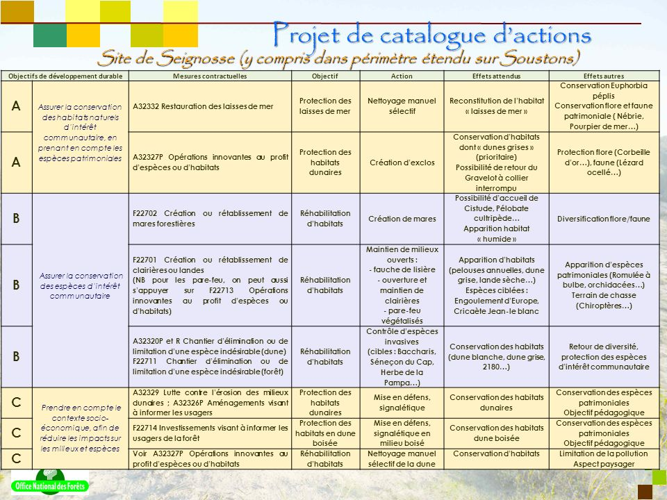 Projet de catalogue d'actions