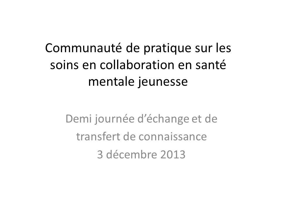Demi journée d'échange et de transfert de connaissance 3 décembre 2013