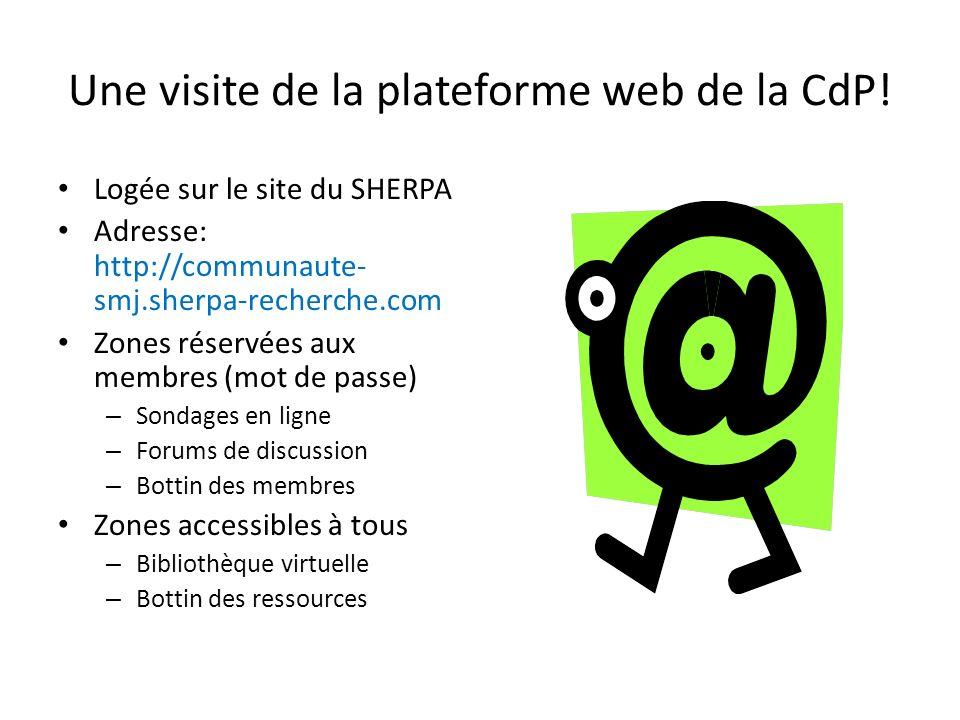 Une visite de la plateforme web de la CdP!