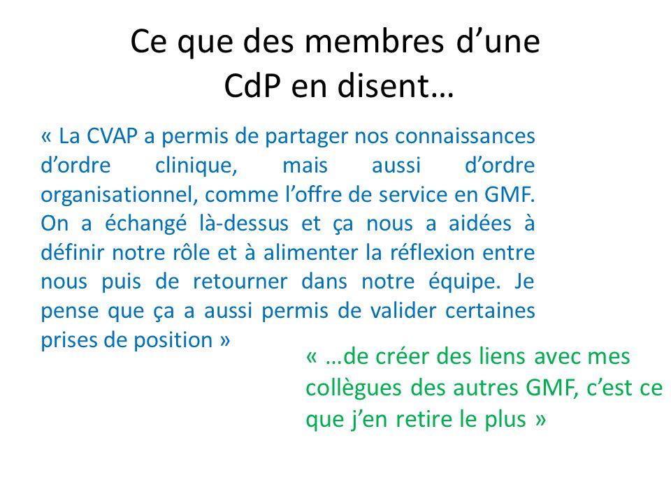 Ce que des membres d'une CdP en disent…