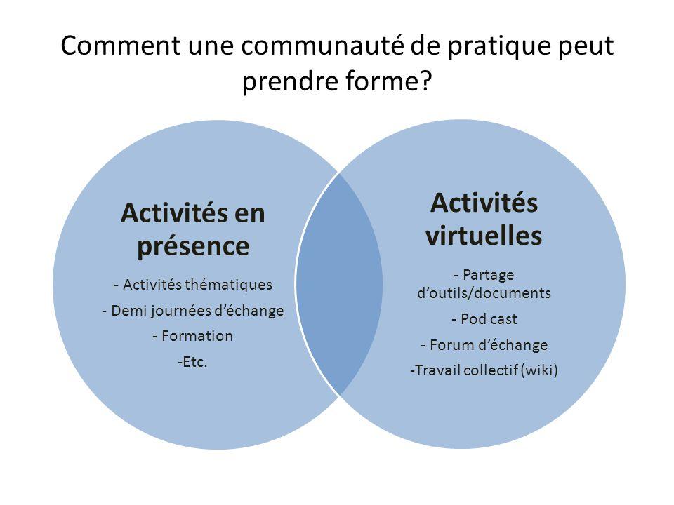 Comment une communauté de pratique peut prendre forme