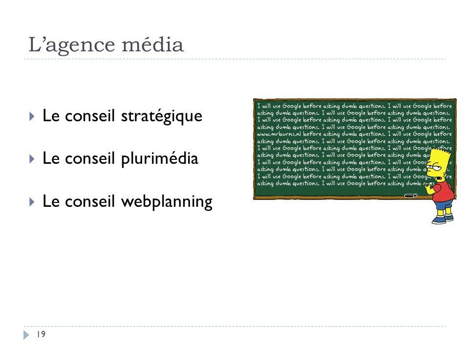 L'agence média Le conseil stratégique Le conseil plurimédia