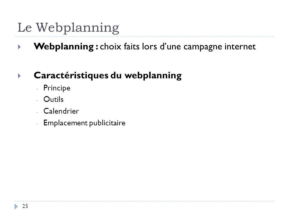 Le Webplanning Webplanning : choix faits lors d'une campagne internet