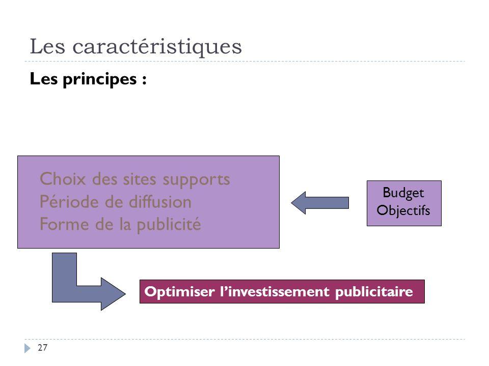 Les caractéristiques Choix des sites supports Période de diffusion