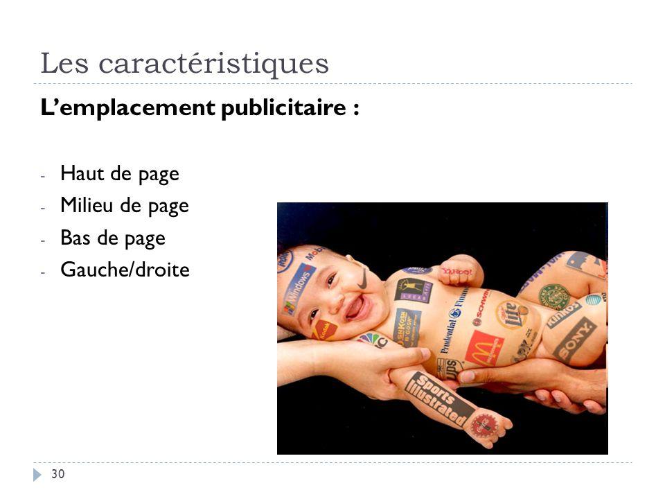 Les caractéristiques L'emplacement publicitaire : Haut de page