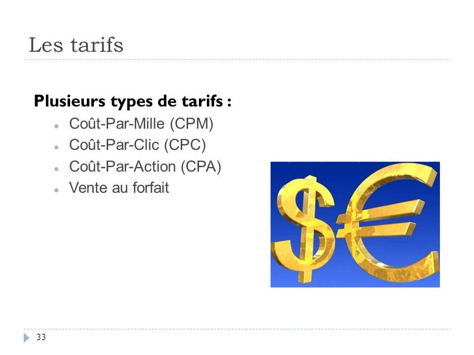 Les tarifs Plusieurs types de tarifs : Coût-Par-Mille (CPM)