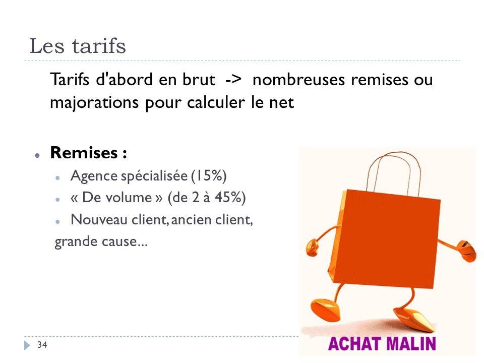 Les tarifs Tarifs d abord en brut -> nombreuses remises ou majorations pour calculer le net. Remises :