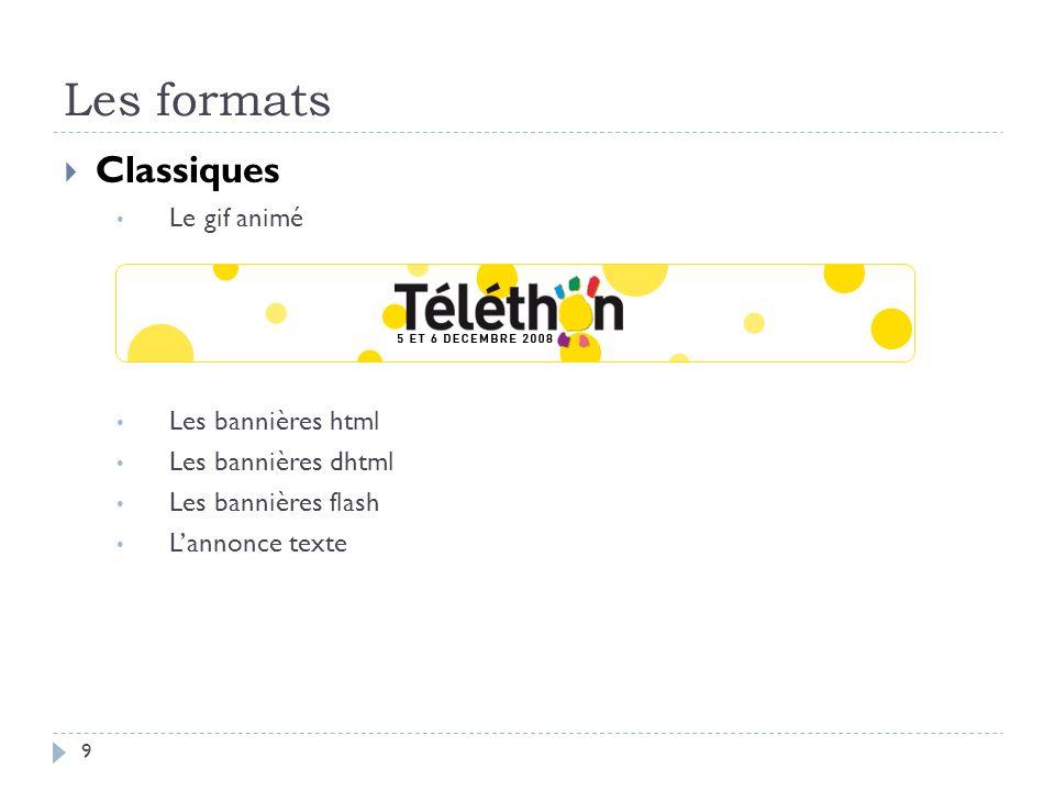Les formats Classiques Le gif animé Les bannières html