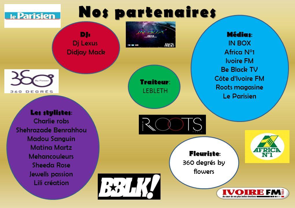 Nos partenaires DJ: Dj Lexus Didjay Mack Médias: IN BOX Africa N°1