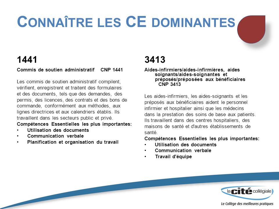 Connaître les CE dominantes