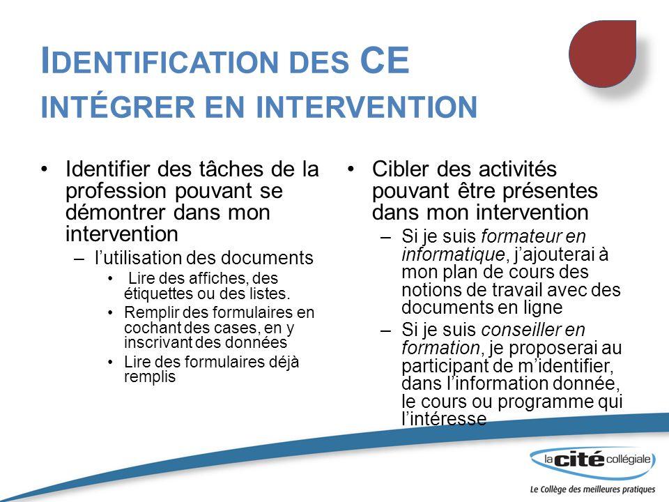 Identification des CE intégrer en intervention