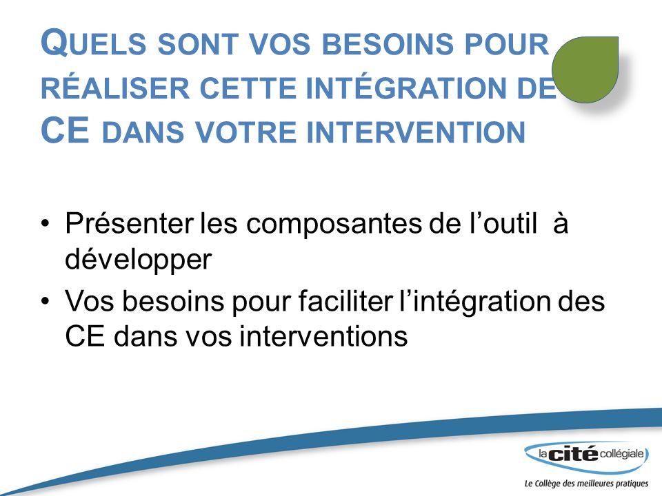 Quels sont vos besoins pour réaliser cette intégration de CE dans votre intervention